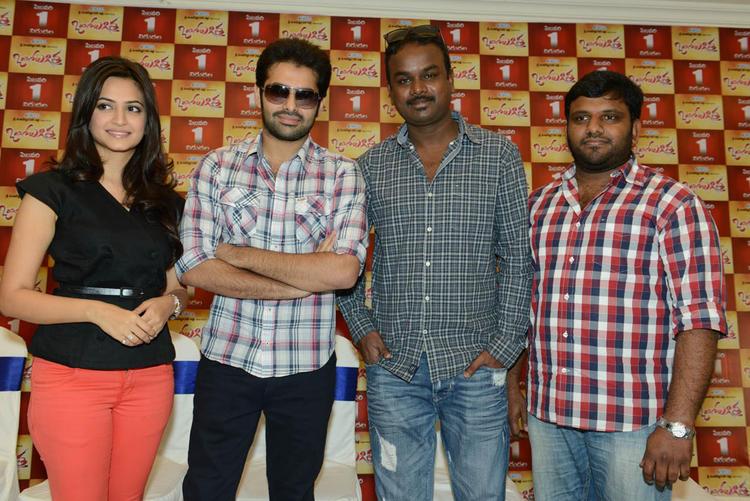 Director Bhaskar,Ram And Kriti Posed At Ongole Gitta Movie Press Meet