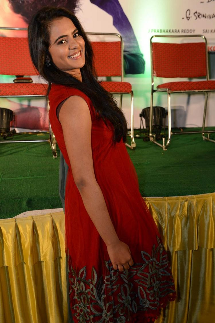 Manasa Nice Look With Cute Smiling Still At Romance Movie Teaser Launch
