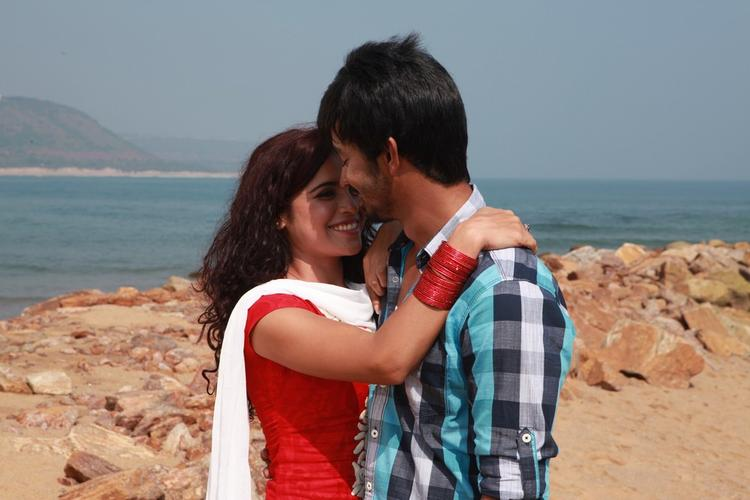 Raghavendra And Piaa Romance Photo Still During Working Of Movie Back Bench Student