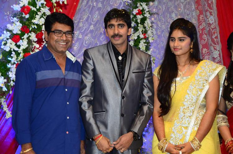 Gopichand  With A Guest Smiling Photo Still At His Wedding Reception At Avasa Hotel
