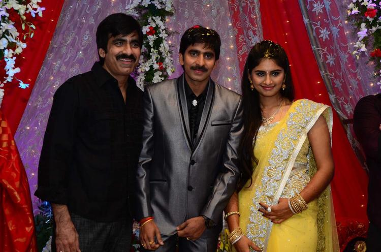 Gopichand With Ravi Smiling Pose At His Wedding Reception