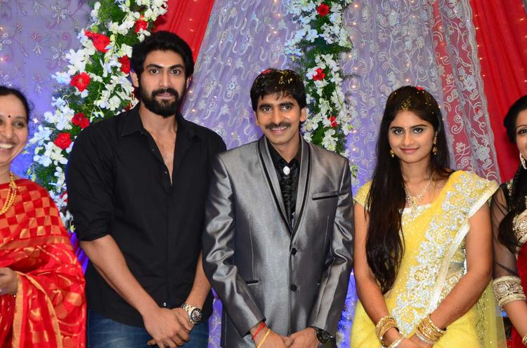 Gopichand With Wife And Rana Smiling Pose For Camera At His Wedding Reception