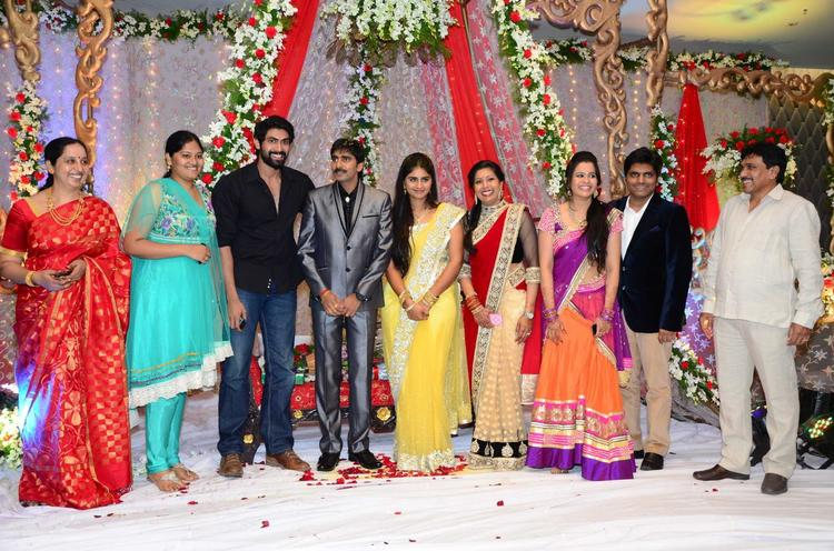 Gopichand With Wife And Rana Snapped At His Wedding Reception