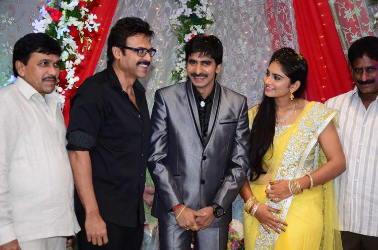 Gopichand With Wife And Venkatesh Photo Clicked At His Wedding Reception