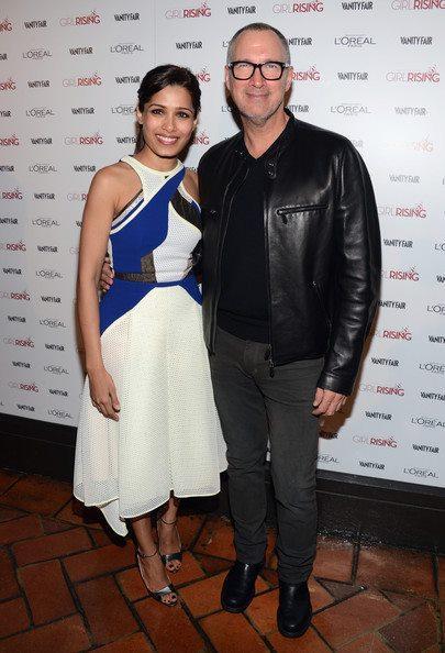 Freida Pinto Posed With Edward Menicheschi At Pre-Oscar Bash 2013