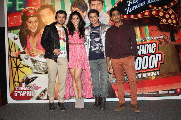 Divyendu,Taapsee,Ali And Siddharth Posed At Chashme Buddoor Audio Launch Event