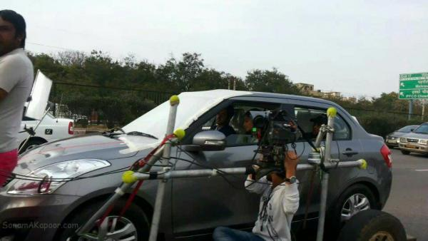 Sonam And Ayushmann Photo Clicked In Car On The Sets Of Their YRF Movie