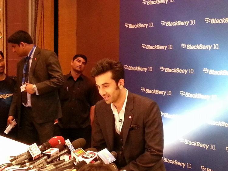 Ranbir Kapoor Talking With Press At The Launch Of Blackberry Z10