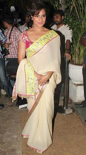 Richa Photo Clicked In Saree At Sanjay Leela Bhansali Birthday Bash
