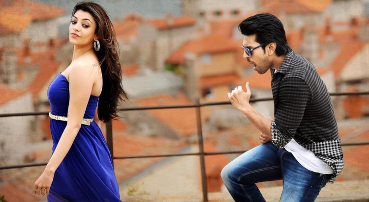 Ram Charan And Kajal Dancing Photo Still From Movie Naayak