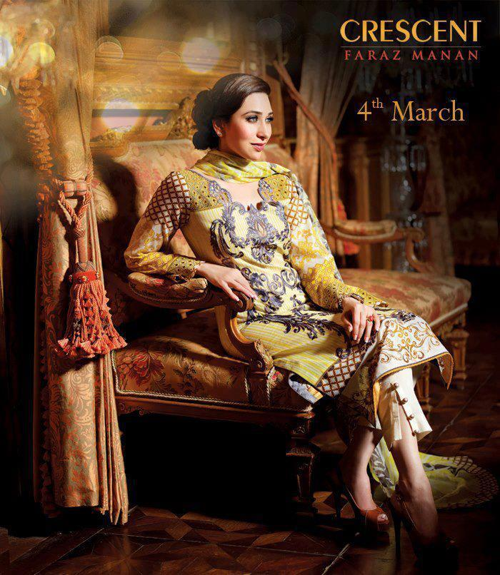 Karisma Kapoor Fashionable Look Photo Shoot For Crescent Lawn 2013 Collection Ad