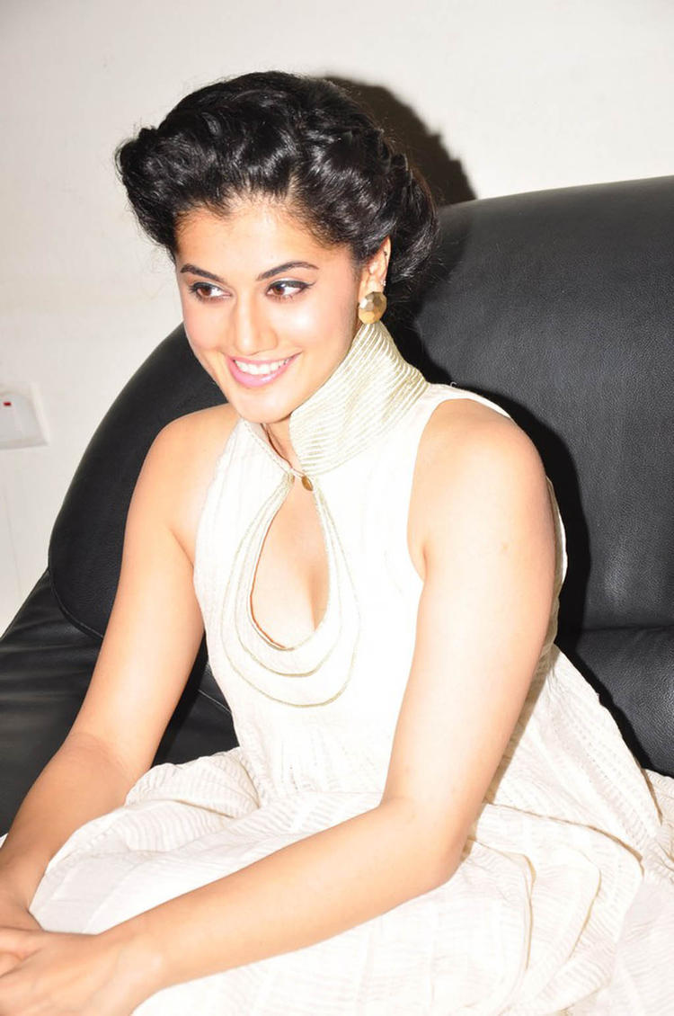 Taapsee Sexy Cleavage Show Photo Still At Shadow Audio Release Function