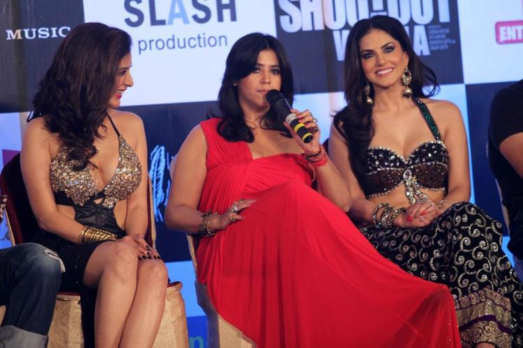 Ekta Speaking Still, Sophie And Sunny Look On At The Music Launch Of Shootout At Wadala