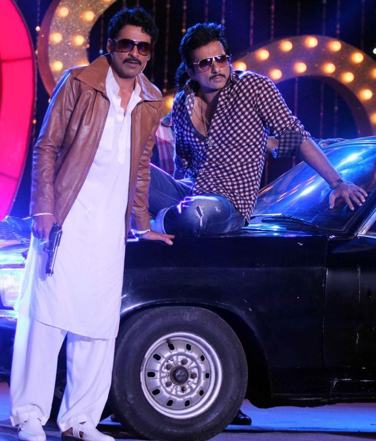 Manoj Bajpai And Sonu Sood Strikes A Pose At The Music Launch Of Shootout At Wadala