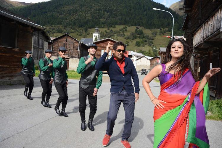 Nagarjuna And Nayantara Rocking Dance In Song Photo Still From Movie Greeku Veerudu