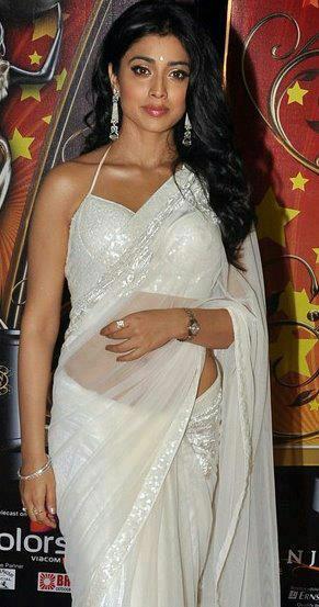 Shriya Saran Gorgeous Look Photo Still In A White Saree