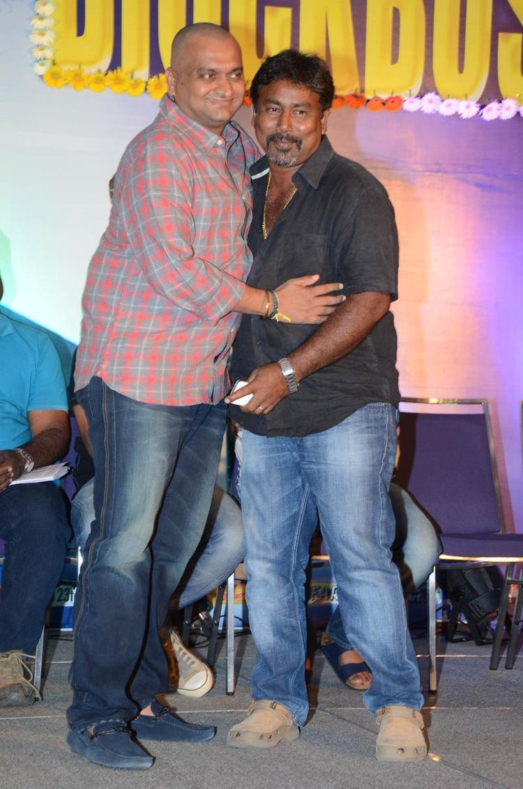Bandla Ganesh Hug Photo Still At Baadshah Movie Success Meet