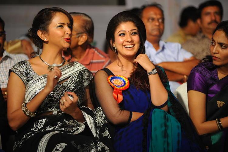 Lakshmi And Nayanthara Smiling Look During The Nandi Film Awards 2011 Function