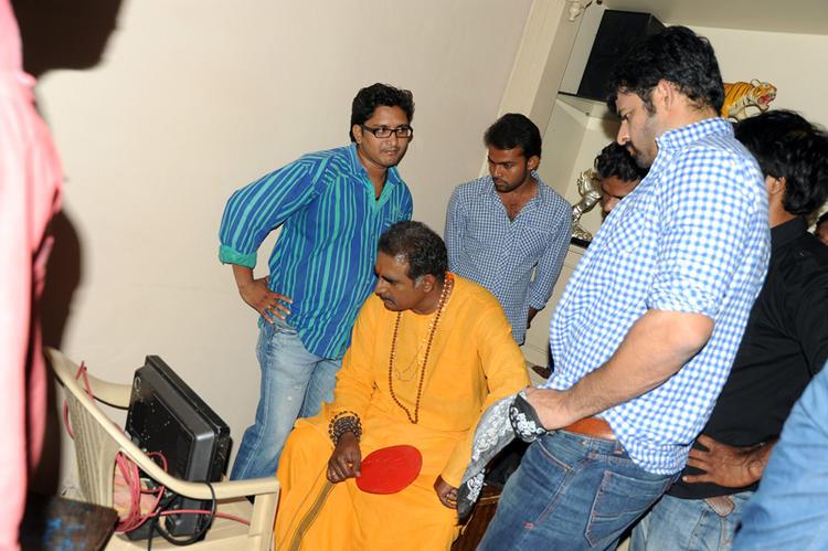 Bishnu With Crew Members On The Sets Of Telugu Movie Ek