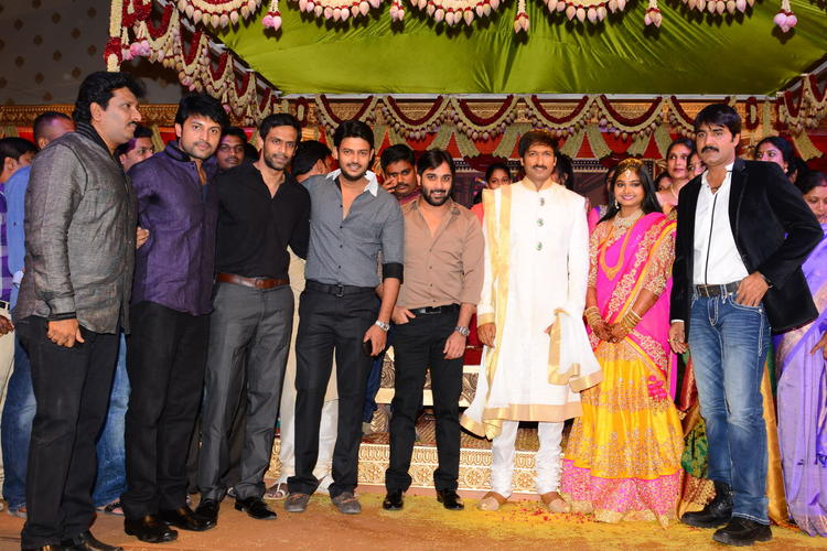 Sreekanth And Other Celebs Pose During Gopi Chand And Reshma Wedding Bash