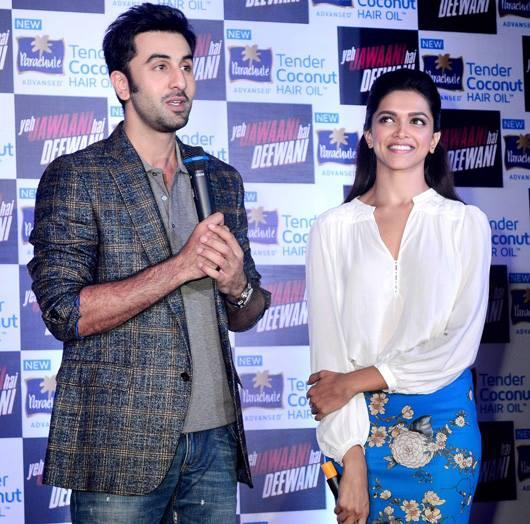 Ranbir Speaking And Deepika Looks On During The Promotional Of YJHD At Parachute Press Conference