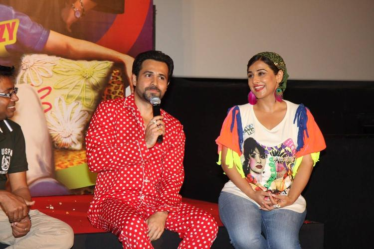 Emraan Speaking And Vidya Looks On At The Music Launch Of Ghanchakkar Song Lazy Lad