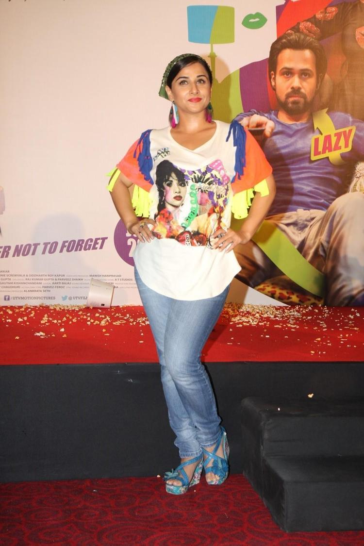 Vidya Balan Strikes A Pose At The Music Launch Of Ghanchakkar Song Lazy Lad