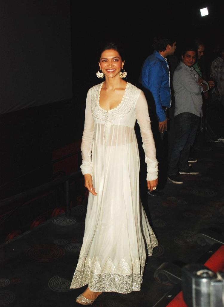 Deepika In White Anarkali Spotted At The Launch Of Chennai Express Trailer