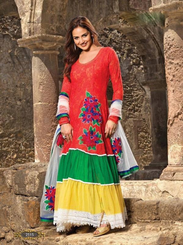 Esha Deol Cute Sweet Face Look Still In Multi Colored Sleeve Full Dress