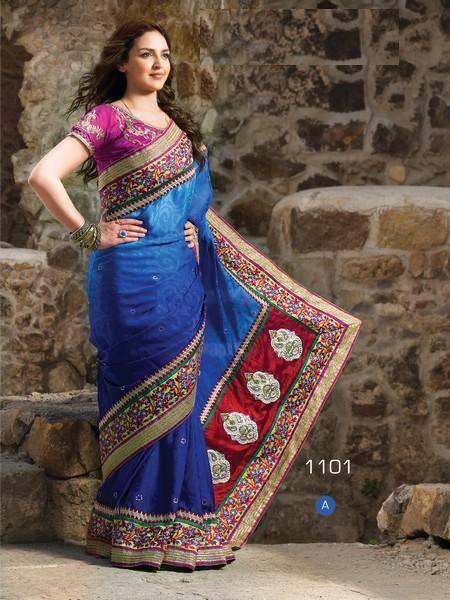 Esha Deol Latest Still In Blue Gorgeous And Border Designed Dress