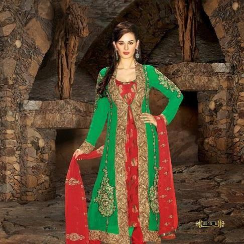 Evelyn Sharma In Green And Red Dress With Embroidery Designed