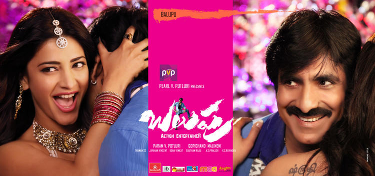 Shruti And Ravi Teja Hot Pic In Balupu Movie Poster