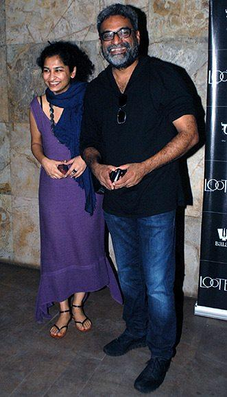 R. Balki With Wife Gauri Shinde Cool Smiling Pose At The Special Screening Of Lootera Movie