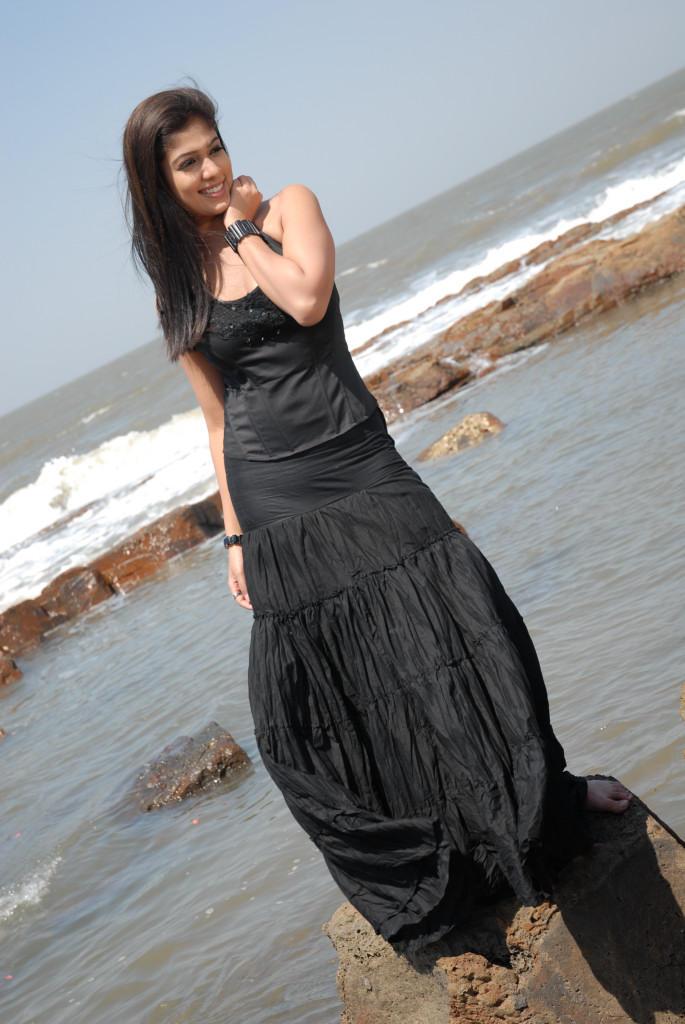 Nayanthara In Black Dress Cool Smiling Pose Photo Still