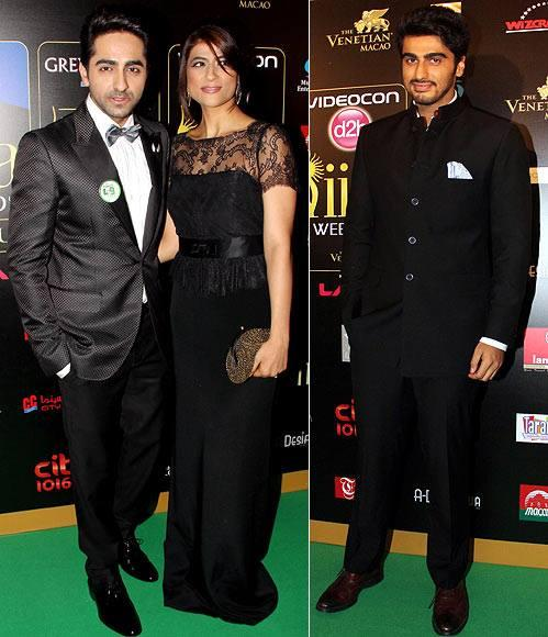 Ayushmann Poses With Wife Tahira Kashyap And Arjun Kapoor Rocks On Green Carpet At 14th IIFA Award 2013
