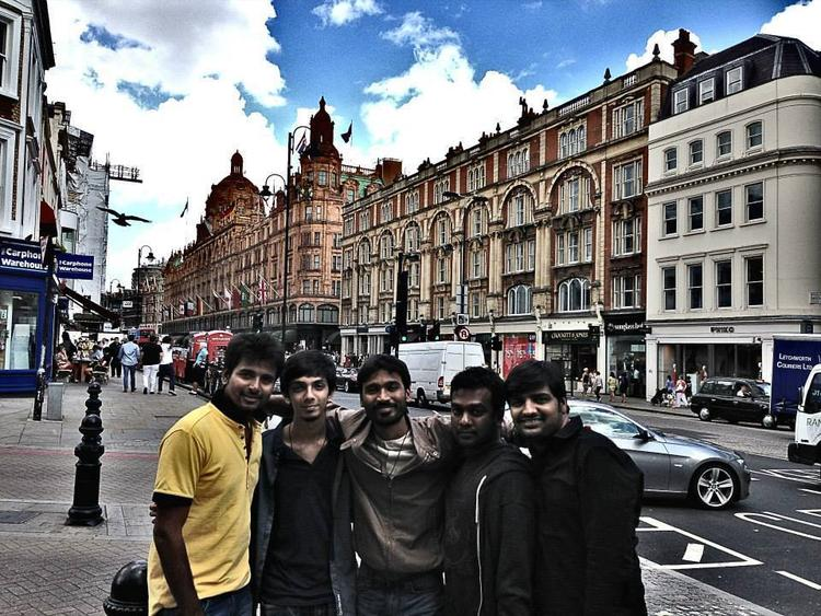 Dhanush Pose With His Best Buddies 30th Birthday In London
