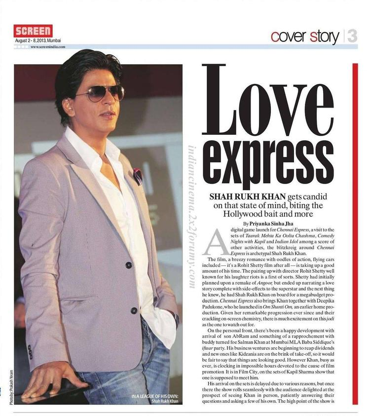 Shahrukh Khan Glamour Look For Screen Magazine August 2013 Issue