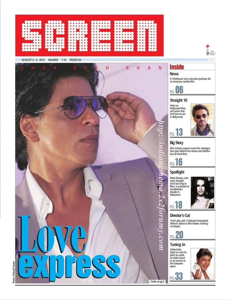 Shahrukh Khan Stylish Look For Screen Magazine August 2013 Issue