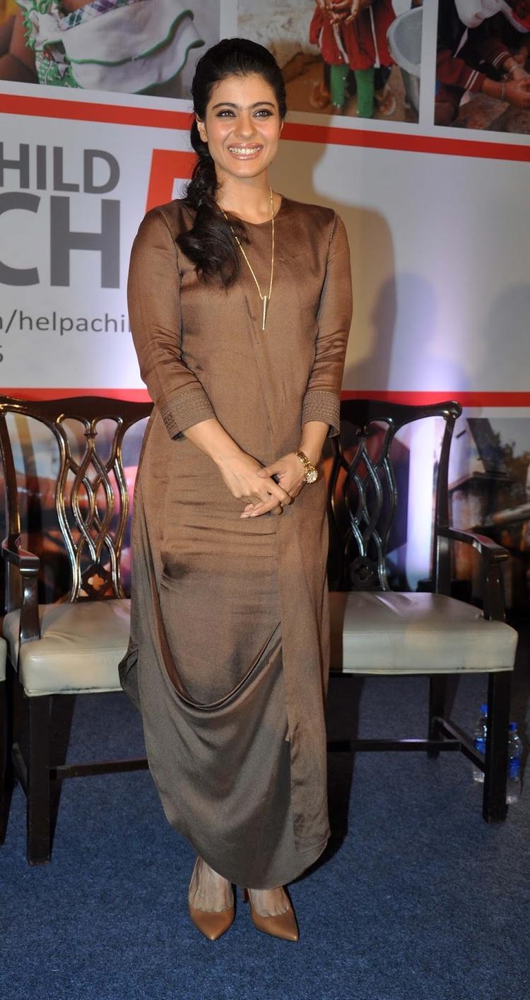 Kajol Covers Up In Brown Ankur Modi Priyanka Modi Ensemble