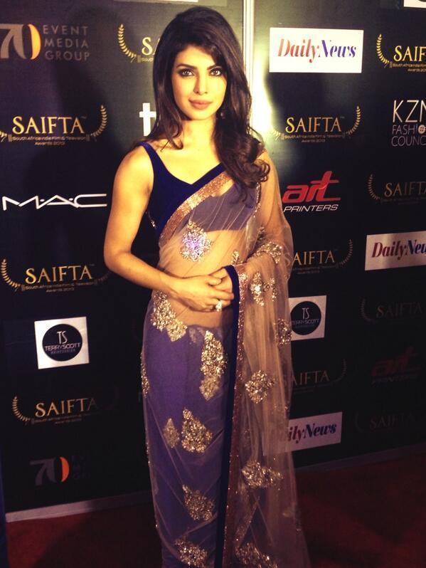 Bollywood Actor Priyanka Chopra Looks Elegant In A Saree At The SAIFTA Awards 2013 In Durban