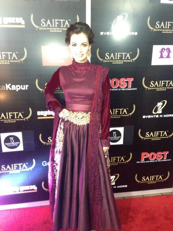 Dia Mirza In A Maroon Floor Length Anarkali Glamour Look On Red Carpet At The SAIFTA Awards 2013 In Durban