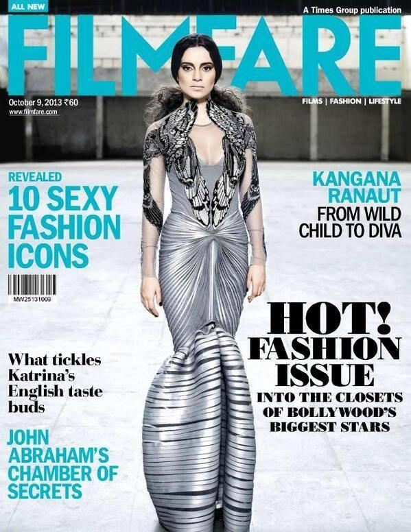 Kangna Ranaut Graced On The Cover Of Filmfare's Fashion October 2013 Issue