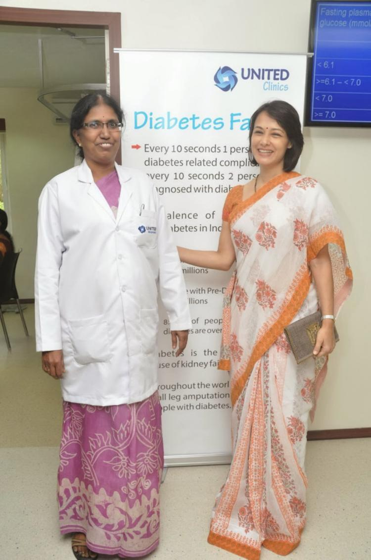 Amala Akkineni Cool Posed With A Doctor During The Launch Of United Hospitals At Madhapur, Hyderabad