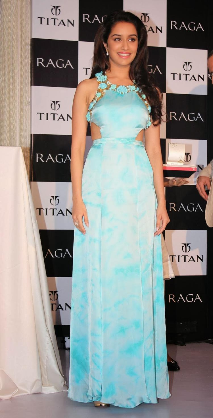 Shraddha Kapoor Fashionable Look In A Gown During The Launch Of Titan Raga's New Pearl Collection