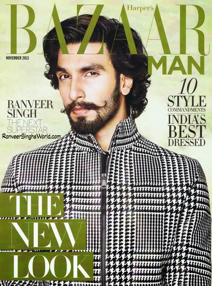 Ranveer Singh Dazzling Look On The Cover Of Harper's Bazaar Man Nov 2013 Issue
