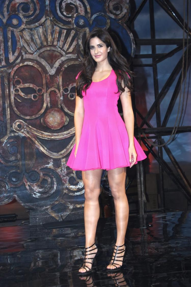 Katrina Kaif Looking Very Cute In Sweet Pink Frock At Dhoom Machale Song Launch Event