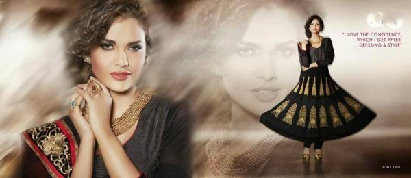 Esha Gupta Black Beautiful Designed Salwar Kameez Photo Shoot