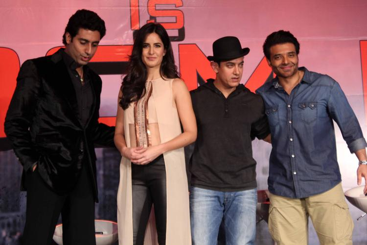 Abhishek,Katrina,Aamir And Uday Pose After A News Conference For Their Upcoming Film Dhoom 3 In Mumbai