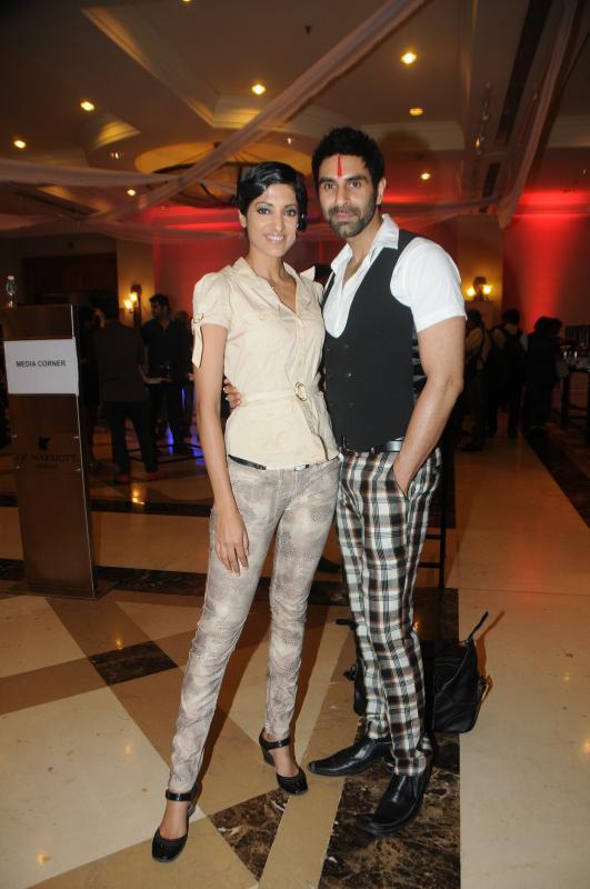 Jasvir Kaur With Sandip Soparrkar Clicked At Rohit Verma Marigold Watches Fashion Show 2013