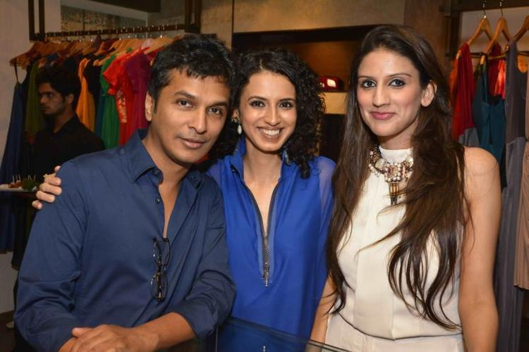 Vikram Phadnis And Aparna Badlani Smiling Pose At Amit Agarwal Collection Preview Event